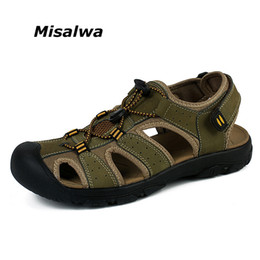 Sale Leather Sandals Canada - Misalwa 2017 Hot Sale Genuine Leather Breathable Men Casual Sandals New Fashion Men Beach Sandals Plus Size 38-47
