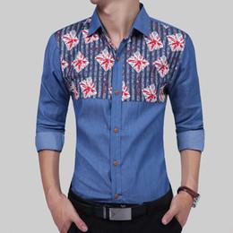 4ab2d1ce683 Brand 2017 Fashion Male Shirt Long-Sleeves High Quality British Print Cowboy  Mens Dress Shirts Slim Men Shirt XXL