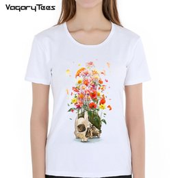 Discount girls skull t shirt - Fashion Summer Women t-shirt New design flowers Voodoo skull Painted T-Shirt Hip Hop Tops novelty Tee Cute girl short sl