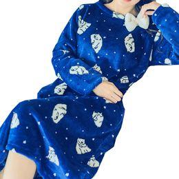 Plus Size M-xl Women s Long Nightgown Dress Cartoon Printing Kawaii Bow Sleepwear  Femme 2016 New Winter Warm Sleepshirts Female 96f867aa8