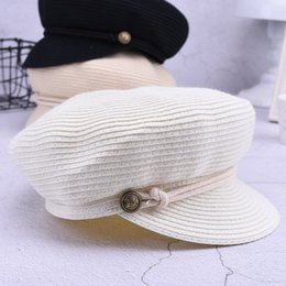 Navy hats online shopping - Creative Pure Color Navy Horsemanship Knights Cap Outdoor Beach Sport Sunscreen Straw Hats For Women Hot Sale yj ff