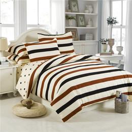 Black White Rose Bedding Australia - Home Textile Modern Plaid Stripes Bedding Set Satin Close Skin Coon 3-4pcs Bed Linen Include Duvet Cover Bed Sheet Pillow Case