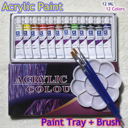 Artists Tools NZ - Acrylic Paints Tube Set Nail Art Painting Drawing Tool For The Artists 12ml 12 Colors Free For Brush And Paint Tray