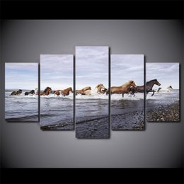 Oil paint set hOrses online shopping - 5 Set Framed HD Printed Horses across the river Wall Art Canvas Print Poster Canvas Pictures Abstract Oil Painting