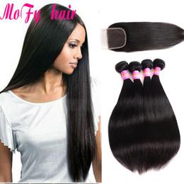 $enCountryForm.capitalKeyWord NZ - Hair Weaves with Closure Indian Peruvian Malaysian Brazilian Hair Unprocessed Human Hair Weave Black Silky Straight And Closure 4X4 Size