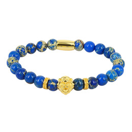 Lion head charm goLd online shopping - 8mm Natural Blue Turquoises Howlite Onyx Stone Beads Rose Gold Silver Color Lion Head Charm Spacer Standard Bracelets For Man