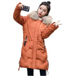 brown down parkas UK - 2018 Thicken Warm Winter Coat Women Oversize Fur Down Parka Hooded Outerwear Jacket Women Abrigos Mujer Invierno Parkas Coats