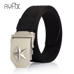Star Belts Australia - canvas belt metal buckle Stars nylon  belt Army tactical belts for Men top quality strap pure color NS33
