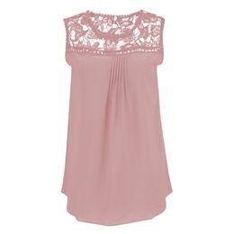 China Wholesale- Blusas Femininas Summer Women Blouse Lace Vintage Sleeveless Crochet Casual Shirts Tops Plus Size cheap blusas femininas casual suppliers