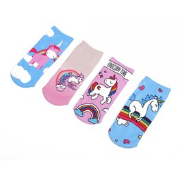 Funny Christmas Socks Canada - DHL200Pair New Soft Cotton Unicorn Socks Kids Girls Novelty 3D printing Cartoon funny socks kids Boys Christmas Gift