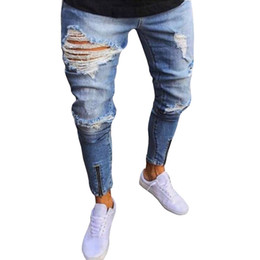 брюки мужские бегуны оптовых-New Fashion Men s Vintage Casual Ripped Broken Hole Jeans Denim Joggers Pants Blue Jogger Damaged Jeans Trousers