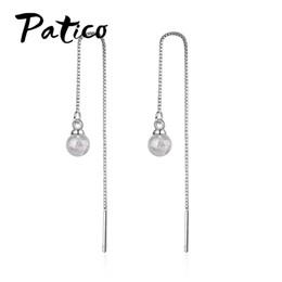 5e3322078 PATICO New Arrival Fashion Simple Hook Earrings Cute Shiny Handmade 925  Sterling Silver Trendy Long Drop Earrings for Women
