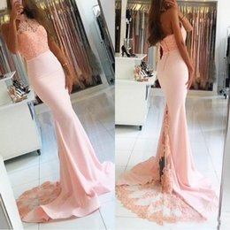 Dress Events NZ - 2018 Mermaid Halter Pink Formal Prom Party Dresses Top Lace Vestidos De Novia African Backless Beads Evening Event Wears Celebrity Gowns