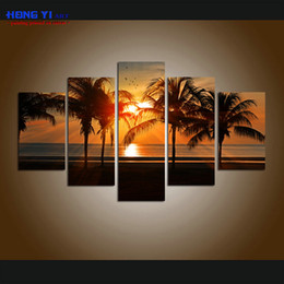 $enCountryForm.capitalKeyWord NZ - Large Wall Art Contemporary HD Canvas print 5 Pieces Beach Wall Art Palm Tree Sunset Seascape Painting picture for living room Decorations