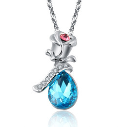 $enCountryForm.capitalKeyWord Australia - Elegant Tears Crystal Pendant Necklace With Rose Flower Charm Prong Rhinestone Wedding Party Jewelry Gift For Women