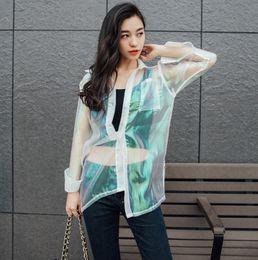 Discount shining jackets - 2018 Harajuku Women Hologram Laser Sympony Shine Sun Protection Clothing Transparent Iridescent Sunscreen Uv Outerwear J