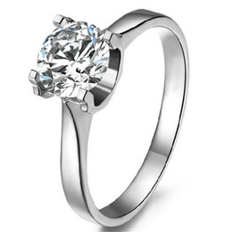 $enCountryForm.capitalKeyWord UK - Classic Wedding Ring 6.5mm 1Ct Round Cut Moissanite Ring 925 Sterling Silver White Gold Color Romantic Jewelry