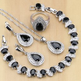 $enCountryForm.capitalKeyWord NZ - ashion Sets 925 Sterling Silver Jewelry Black Cubic Zirconia White CZ Jewelry Sets For Women Party Earrings Pendant Necklace Rings Brac...