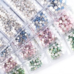 Wholesale Nail rhinestones White Opal Color Decoration Multi size mix Green Blue Pink Opal stones for nails Rhinestones for nail design