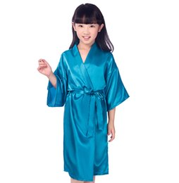 924e07a5c Kids Solid Color Satin Robe Children Kimono Robes Bridesmaid Flower Girl  Dress Child Bathrobe Nightgown Baby Girls Home Wear