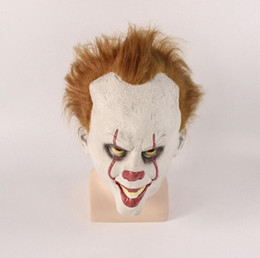 Wholesale Halloween It Pennywise Horrible Mask Clown Cosplay Costume Accessories Mysterious Mask Party Pranks Scary Mask Free Shipping