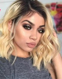 $enCountryForm.capitalKeyWord Australia - 100% Human Hair Full Lace Blonde Wig Ombre Color 1B 613 Two Tone Body Wave Front Lace Wigs Dark Root With Baby Hair