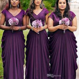 Plus Size Wedding Dresses Dark Purple Australia - Plus Size Dark Purple Bridesmaid Dresses 2019 Cap Sleeves V-Neck Ruffles vestidos Wedding Party Gowns Custom Made