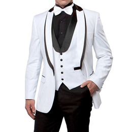 China White and Black Wedding Men Suits for Prom Party Peaked Lapel Custom Made 3 Piece Groomsmen Tuxedos Jacket Pants Vest suppliers