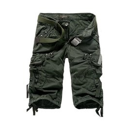 Wholesale cargo shorts men for sale - Group buy 2016 New Mens Summer Army Cargo Three Quarter Pants Cotton Multi Pockets Tactical Camo Casual Men Jogger Short