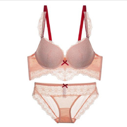 224613c653612 China Sexy Lace Bra Sets for Women UnderWire Thin Cotton Breathable  Underwear Solid Color Lingerie Set