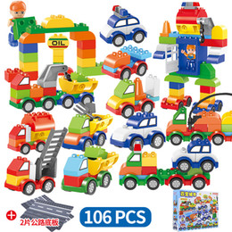 Train blocks online shopping - 106pcs set Cars Building Blocks rode plate digital train car kids toys bricks Educational Intelligence Safe Party Favor AAA1274
