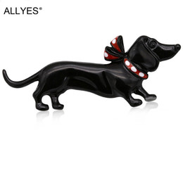 Discount dog collars for women - ALLYES Black Dog Brooches For Women Jewelry Cute Fashion Female Clothes Costume Collar Hat Enamel Pin Animal Brooch