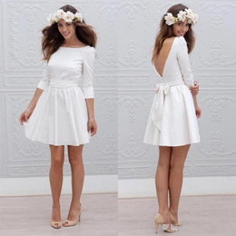 cheap informal dresses NZ - Cheap Informal Short Wedding Dresses With 3 4 Sleeve Simple Cheap Mini Reception White Bridal Gowns Sexy Open Back Wedding Party Dresses