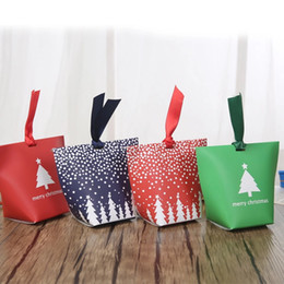 Candy Paper Bag Australia - 50 pieces lot Candy Box Without ribbon DIY Christmas Gift Bags without Rope Handle Christmas Tree Pattern Candy Apple Paper Box Co