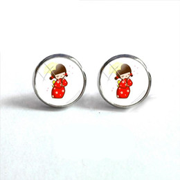Chinese  2018 New Kawaii Kokeshi Silhouette Round Earring Japanese Doll Earrings Silver Jewelry Glass Cabochon Ear Studs Stainless Steel manufacturers