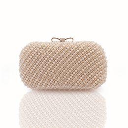 The 100%Hand made Luxury Pearl Clutch bags Women Purse Diamond Chain white  Evening Bags for Party Wedding black Bolsa Feminina 2058810dbdfa