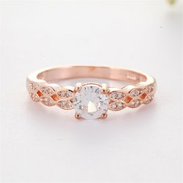 $enCountryForm.capitalKeyWord Australia - Rose Gold Color Ring White Stone Rings for Women Wedding Engagement Crystal Ring Jewelry Bague Femme Luxury Anillos Mujer O3D148