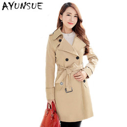 6886357144b1e Red Belted Trench Coat Canada - Wholesale-Plus Size Women Clothing Spring Autumn  Double Breasted