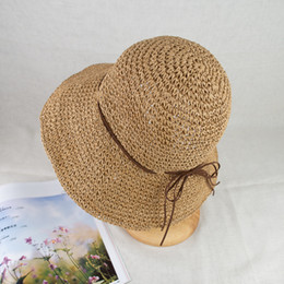 $enCountryForm.capitalKeyWord NZ - 2018 New Crochet Straw 4 inches Wide Magic Brim Summer Beach Casual Outdoor Wear Women and Kids Floppy Sun Protection Hat