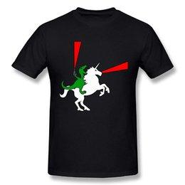 $enCountryForm.capitalKeyWord NZ - Funny Men's Dinosaur Riding Unicorn 100% Cotton Prints Casual Short Sleeve Tee Cheap Sale T Shirt For Boys