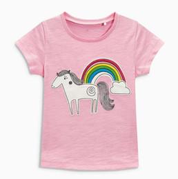 c1d32019ade 2018 NEW ARRIVAL girl Kids 100% Cotton Short Sleeve rainbow unicorn print T  shirt girls causal summer t shirt