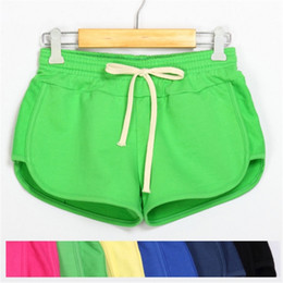 White Cotton Drawstring Pants Women Canada - Women Fitness Sports Shorts Elastic Mid Waist Running Gym Yoga Breathable Cotton Short Pants Loose Drawstring Sport Shorts
