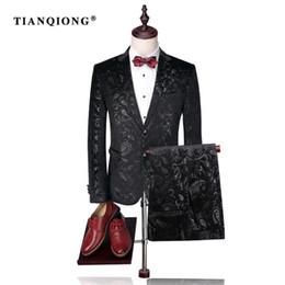 slim fit luxury suits 2019 - TIAN QIONG Men Suit 2017 Luxury Tuxedo Wedding Suits for Men Slim Fit Velvet Tuxedo Fashion Printed Floral Suit (Jacket
