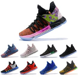 a71d209f885 KD 10 mens basketball shoes What The All Star Aunt Pearl Be True Triple  Black Oreo BHM City Edition celebration Sports Sneakers 40-46