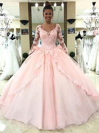 sweet 16 birthday dresses Canada - 2018 Light Pink Quinceanera Dresses Long Sleeves Ball Gown Princess Sweet 16 Birthday Sweet Girls Prom Party Special Occasion Gowns
