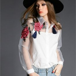 $enCountryForm.capitalKeyWord Australia - 2017 summer style Organza Patchwork Polo Women Blouses Tops Fashion Floral Embroidery White Blouse Shirt women Clothing