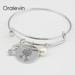 inspire bracelets NZ - MERMAID SISTERS Inspired Hand Stamped Engraved Disc Pendent Charms Expandable Wire Mermaid Bracelet Bangle Gift Diy Making Jewelry ,#LN111B