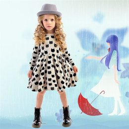 Wholesale Baby Girl Autumn Dress Children Black Cat Long Sleeve Clothes Kids Casual Cotton Dot Clothing Autumn Princess Girls Dresses
