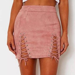 c917546f787b96 Sexy Lace Up Leather Suede Bandage Skirts Women Vintage Cross Zipper Split  Mini Skirt Sexy High Waist Bodycon Short Pencil Skirt