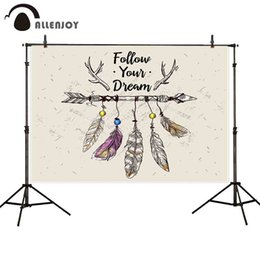 scenic background paper 2019 - Allenjoy backdrop photocall Follow your dream bead feathers arrow catcher art childern wall-papers camera background for